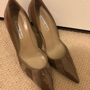 Charles David patent and suede pumps